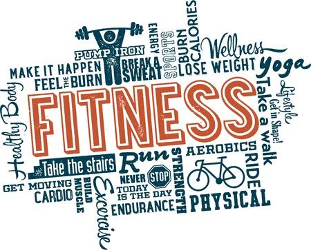 Fitness en Health Word en pictogram Wolk Stock Illustratie