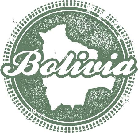 grunge football: Vintage Bolivia Country Stamp Illustration