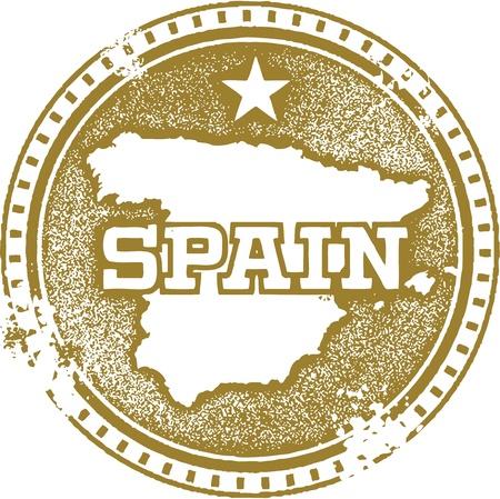 passaporto: Vintage Spagna Paese Timbro Vettoriali