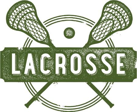 Vintage Lacrosse Sport Clip Art Illustration