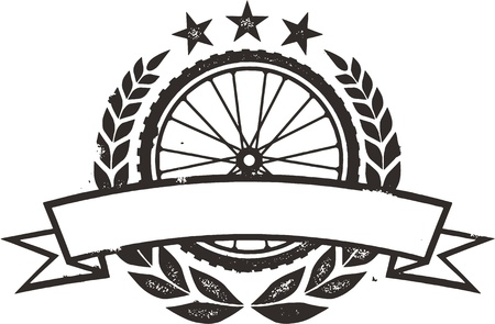 laurel mountain: Mountain Bike Race Wreath Illustration