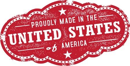 Weinlese Hergestellt in den USA USA Label Standard-Bild - 19744118