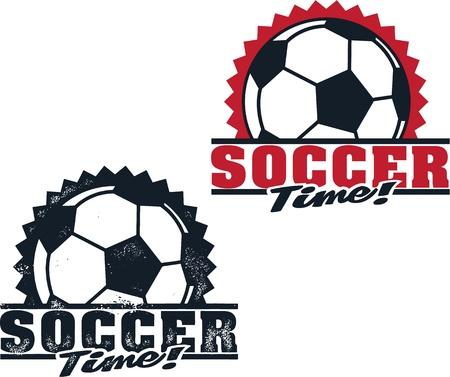 Soccer Time Schoon en Verontruste Badges Stock Illustratie