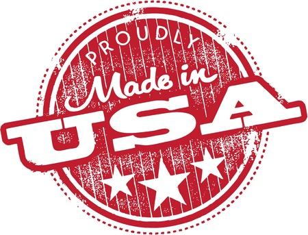 Timbre Vintage Fabriqué aux Etats-Unis Vecteurs