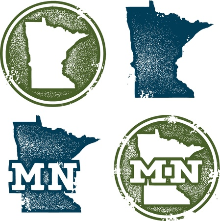 Minnesota State Grunge Stamps