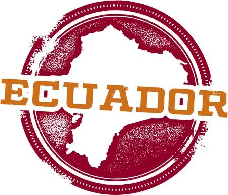 Ecuador South America Travel Stamp Illustration