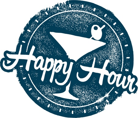 Happy Hour Cocktail Bar Stamp Illustration