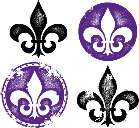 Distressed Fleur De Lis Designs Vector