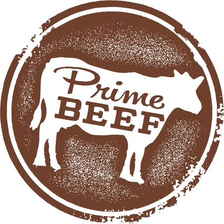 beef meat: Prime Beef Menu Design Stamp