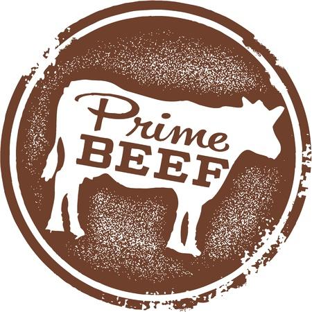 Prime Beef Menu Ontwerp Stamp Stock Illustratie