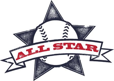 Honkbal of softbal All Star Stock Illustratie