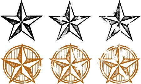 ビンテージの苦しめられた西洋の星