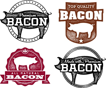 smoked bacon: Vintage Bacon Product Labels