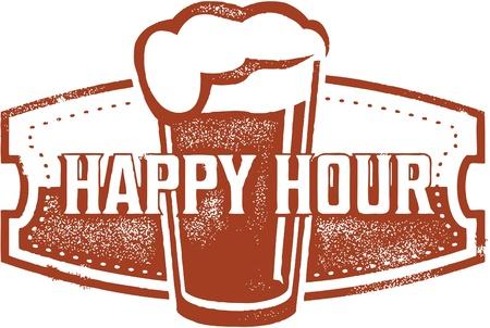 Happy Hour Beer Bar Ontwerp Stock Illustratie