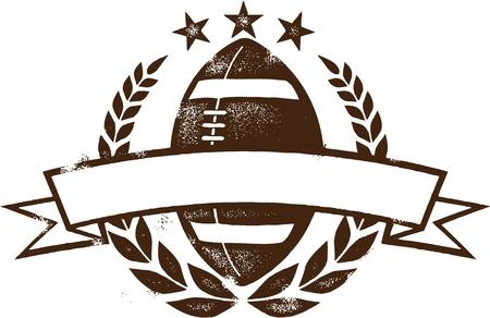 football silhouette: Grunge American Football Wreath Design