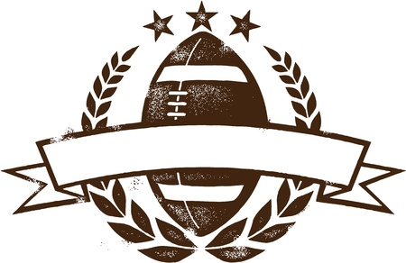 rugby ball: Grunge Americana Football Wreath Design