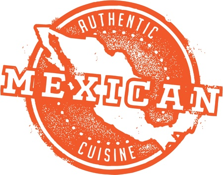 Authentic Mexican Restaurant Stamp Vector