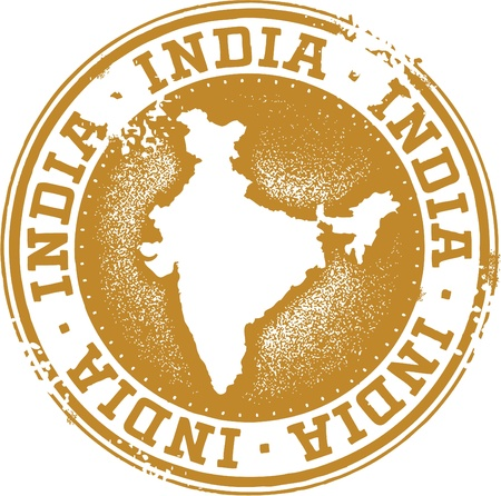 India Country Rubber Stamp Illustration