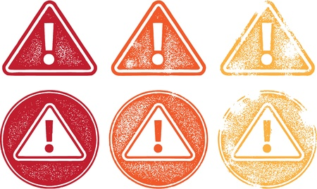 Alert Warning Symbol Stamps Vector