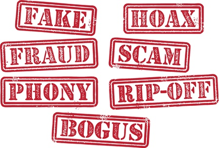 Fake-Hoax Bogus Fraud Scam Briefmarken Standard-Bild - 21549066