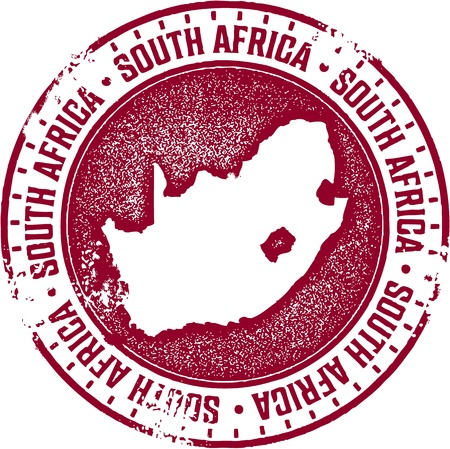 south africa map: South Africa Country Stamp