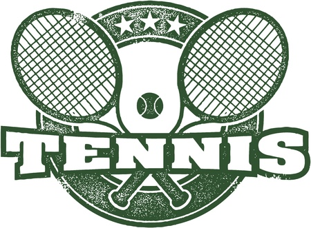 빈티지 테니스 스포츠 우표 일러스트