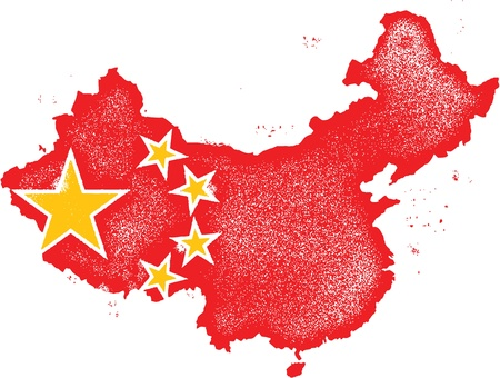 china flag: China Country Grunge Map with Flag