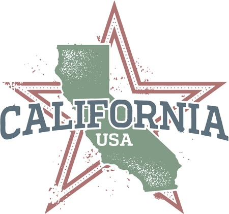Vintage California Stamp Illustration