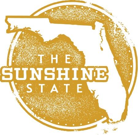 mapa: Florida EE.UU. Sunshine sello del Estado