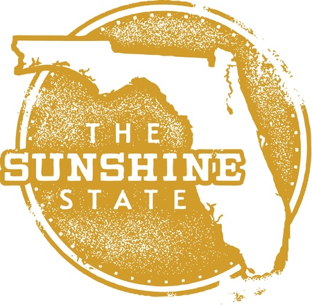 Florida USA State Sunshine Stamp Vector