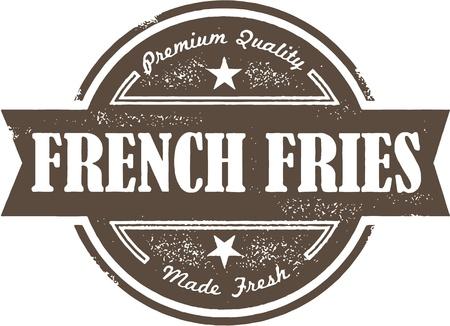 papas fritas: Vintage French Fries Label Vectores