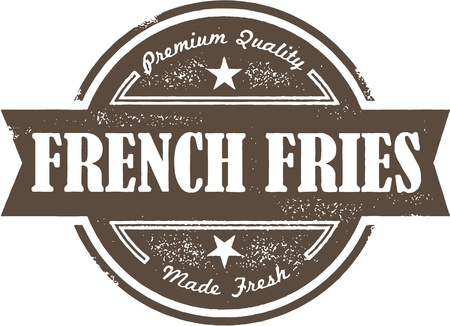 rubber stamp: Vintage French Fries Menu Label