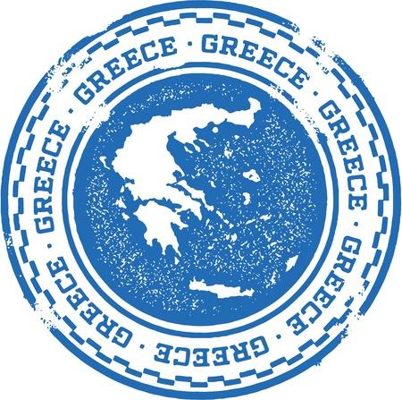 templo griego: Vintage Grecia Pa�s sello