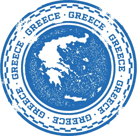 greek flag: Vintage Greece Country Stamp