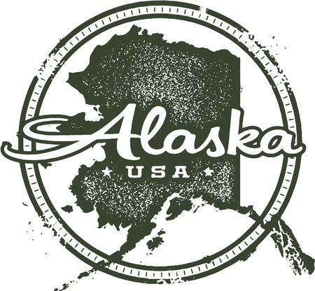 alaska: Vintage Alaska USA State Stamp Illustration