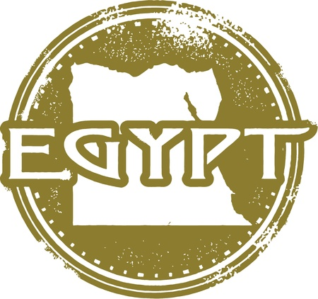 nile river: Egypt COuntry Stamp Illustration