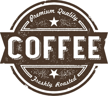 coffee: Vintage Coffee Label Stamp Illustration