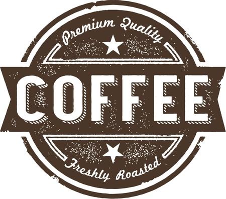 Vintage Coffee Label Stamp Illustration