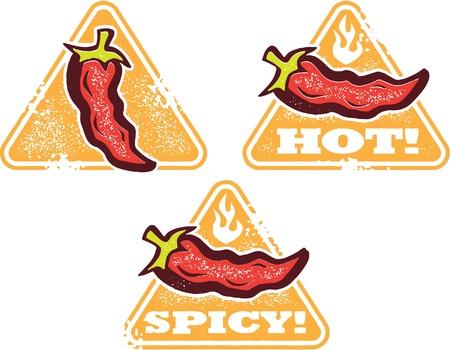 Hot and Spicy Eten Waarschuwing Zegels Stock Illustratie