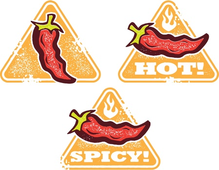 Hot and Spicy Food Warning Stamps Vectores