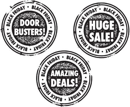 Black Friday Sale Einzelhandel Briefmarken Illustration