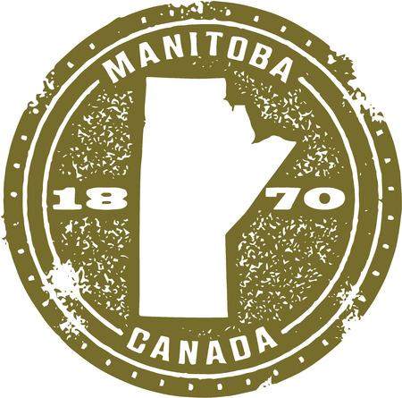 Vintage Manitoba Canada Stamp Vector