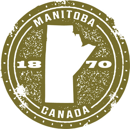 canada stamp: Vintage Manitoba Canada Stamp Illustration