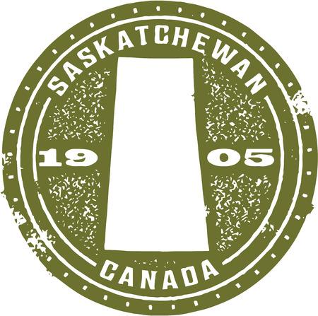 Vintage Saskatchewan Canada Stamp Vector