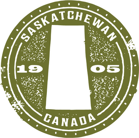 canada stamp: Vintage Saskatchewan Canada Stamp Illustration