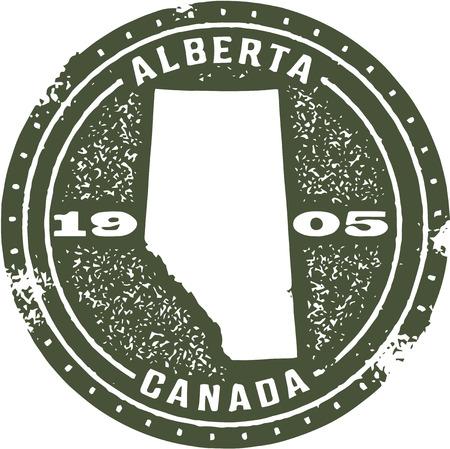 Vintage Alberta Canada Stamp Vector