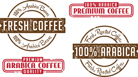 Premium Arabica Coffee Stamps Vector