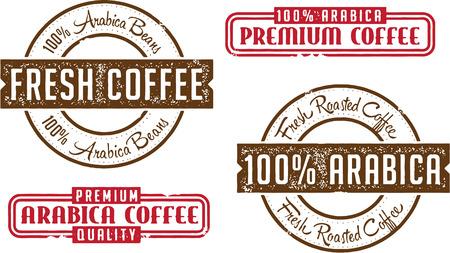 Premium Arabica koffie Postzegels Stock Illustratie