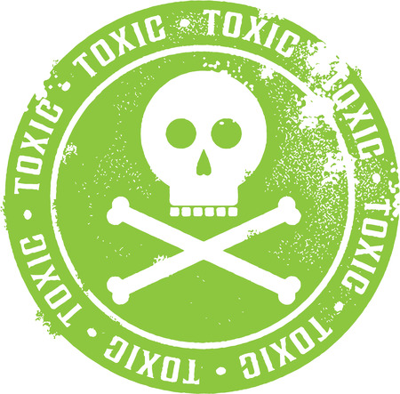 atomic bomb: Toxic Danger Stamp Illustration