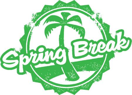 tropical tree: Sello de goma de las vacaciones de primavera